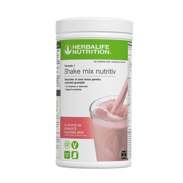 Herbalife Shake Formula 1 Fără alergeni cu aromă de zmeură și ciocolată albă 500g 1
