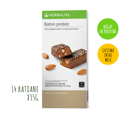 Batoane proteice Herbalife Vanilie și migdale 14 batoane per cutie 1